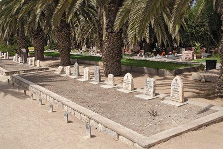 swakopmund: German Old Soldiers Graves in the cemetery Swakopmund, Namibia Editorial