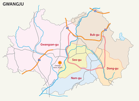 district': Gwangju road and district map
