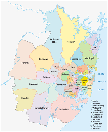 sydney: administrative map of all the municipalities of Greater Sydney