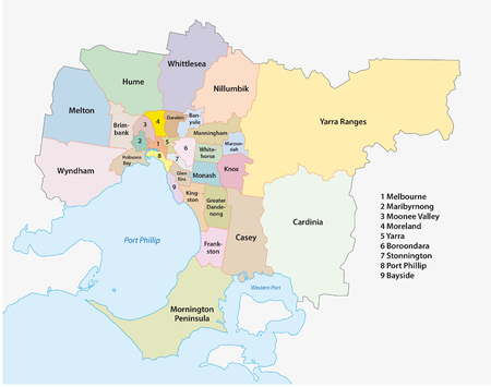 Melbourne Metro Area Mapa administracyjna Ilustracje wektorowe