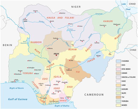 nigeria: nigeria map of the principal groups lingustic