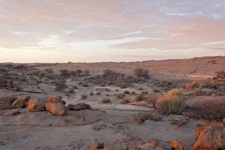 red sky: Granite rock formations north of the Brandberg, Namibia