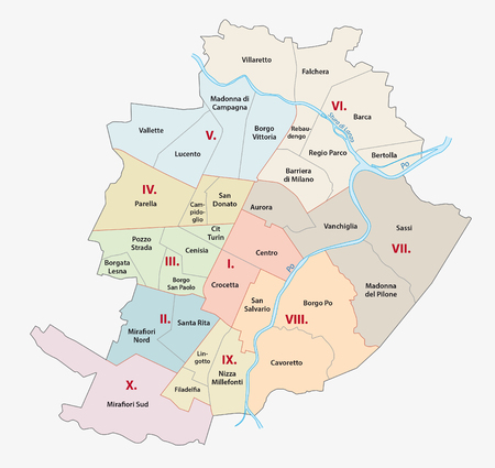 turin: Turin administrative map