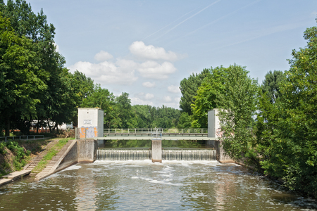 weir: A small weir of the river Nidda in Frankfurt, Germany Stock Photo