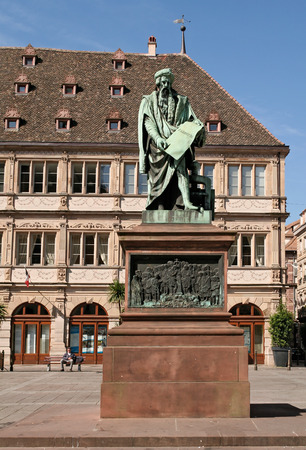 gutenberg: the Gutenberg monument 0n the Gutenberg Square in Strasbourg, Alsace, France