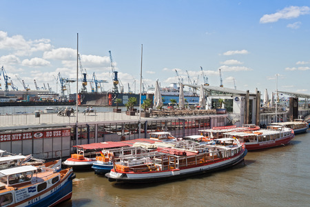 st pauli: excursion boats in Hamburg-St Pauli at the Landungsbruecken Editorial