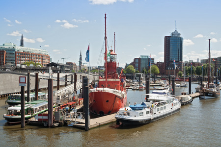 st pauli: jetty with different types of ships in Hamburg City at the Landungsbruecken