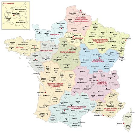 Le nuove regioni della Francia dal 2016 Archivio Fotografico - 50627521
