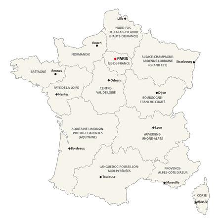 Las nuevas regiones de Francia desde el mapa Foto de archivo - 50627522