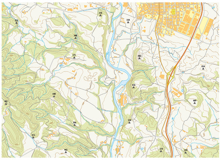 topographic: Imaginary topographic map of territory with rivers, akes, forests and roads