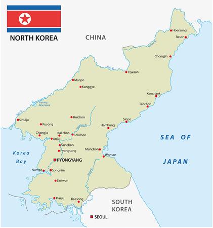 pyongyang: north korea map with flag