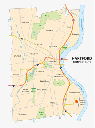 Road map of Hartford, the capital of the US State of Connecticut Illustration