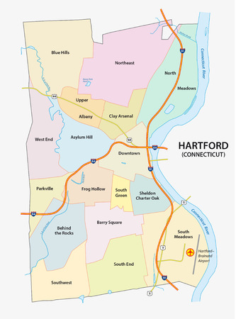 nighborhood map of Hartford, the capital of the US State of Connecticut Ilustração
