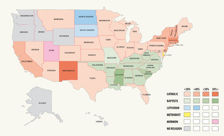 mormon: Map of religion in the United States of America