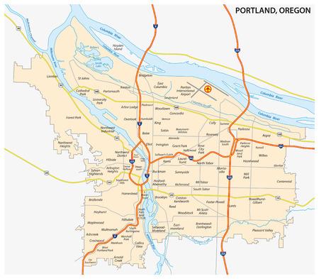 portland: Portland Road and neighborhood map Illustration