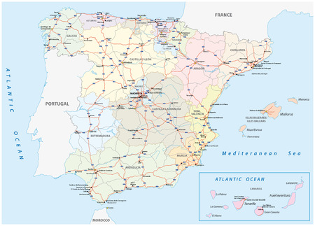 spain map: detailed map of the Spanish motorways and main roads Illustration