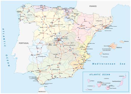 gedetailleerde kaart van de Spaanse autosnelwegen en hoofdwegen