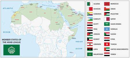 southwest asia: Arab League map