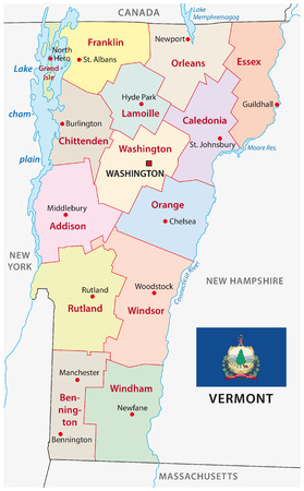 vermont administrative map with flag