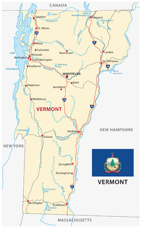 united states map: vermont road map with flag