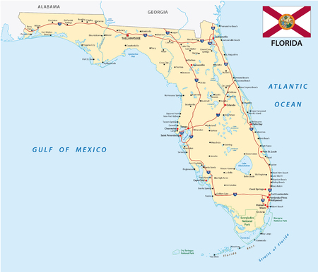 Florida Road map with flag Illustration