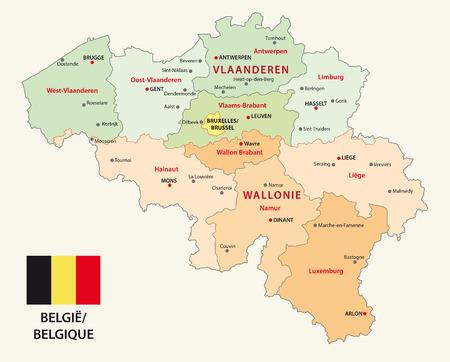 België administratieve kaart met vlag