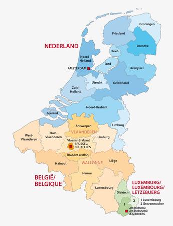bestuurlijke kaart van de drie Benelux-landen Nederland, België, Luxemburg Vector Illustratie