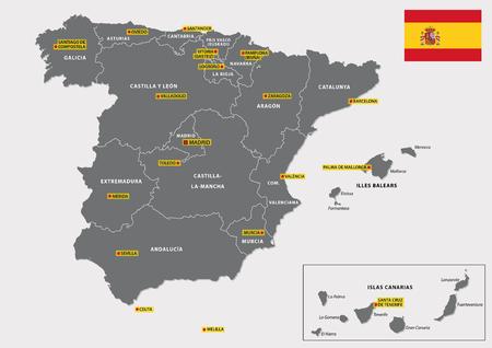 kaart met vlag van de Spaanse regio's en hun hoofdsteden