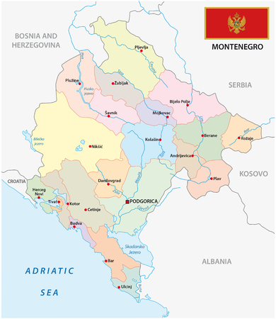montenegro: Montenegro administrative map with flag