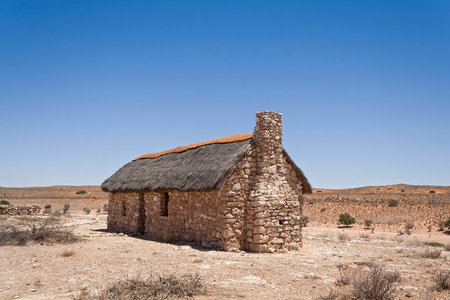 kgalagadi: Kgalagadi Auchterloinie museum, restored stone and thatch cottage