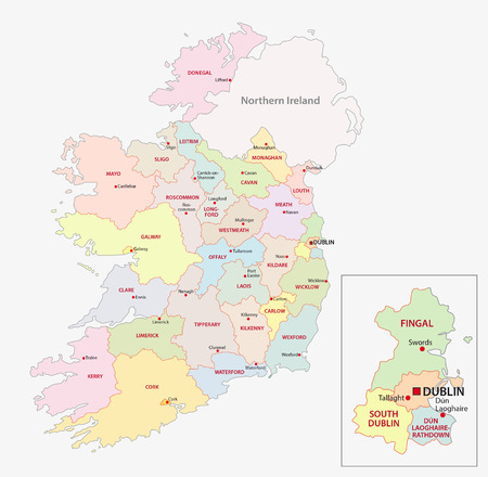 Map of Ireland administrative divisions on counties level
