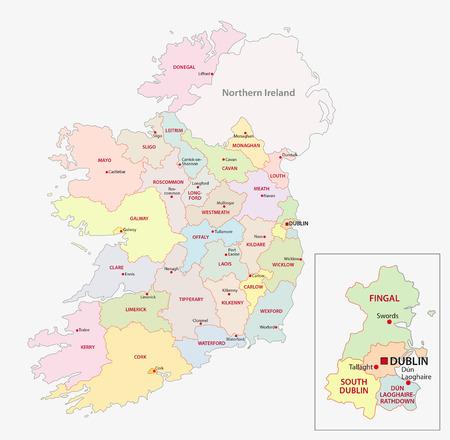 Mappa di Irlanda divisioni amministrative a livello contee Archivio Fotografico - 51580818