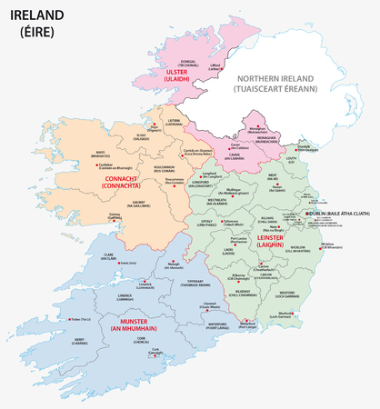 republic of ireland: Map of Ireland administrative divisions on counties level
