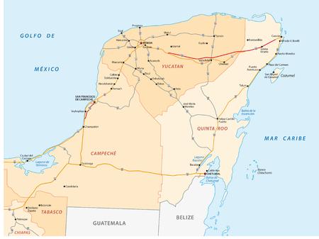 Yucatan peninsula road map