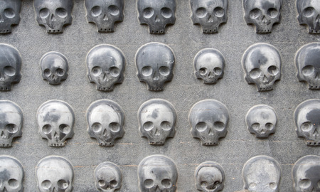 dome type: skulls of stone on the fasade of the domes in Fulda,