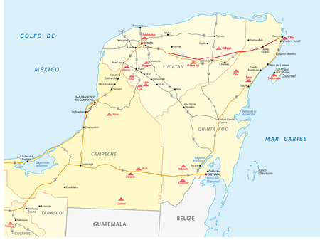 yucatan: street map of Yucatan with the main mayan ruins
