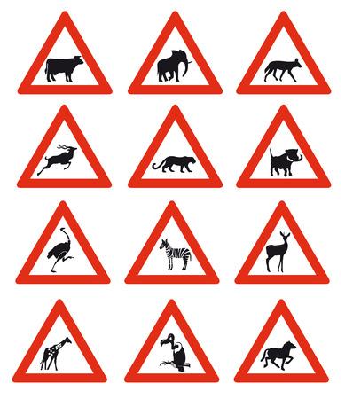twelve Animal Crossing Road Signs of Namibia