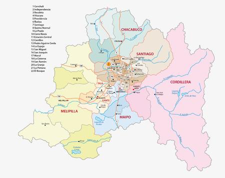 Santiago チリの首都圏の行政上の地図、