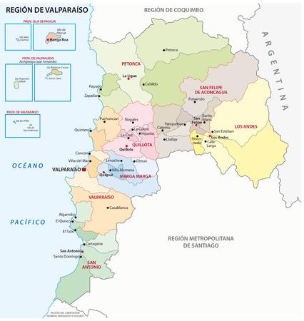 chile: Valparaso Chile Administrative Region Map