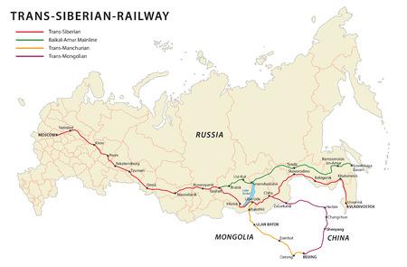 Mappa ferrovia transiberiana, Archivio Fotografico - 54114559
