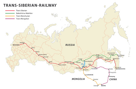 railroad: Trans-siberian railway map,