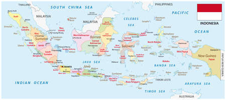 oceania: indonesia administrative map with flag