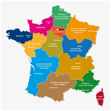 Nowe regiony Francji od mapie