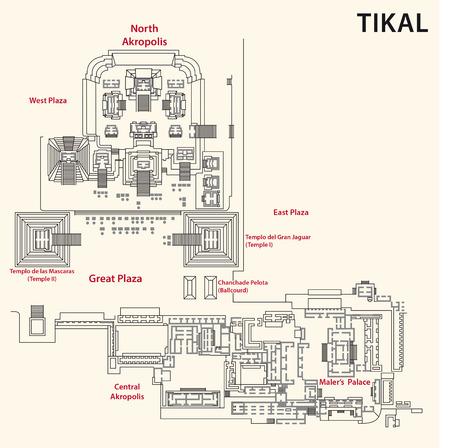 acropolis: Tikal map, Guatemala Illustration