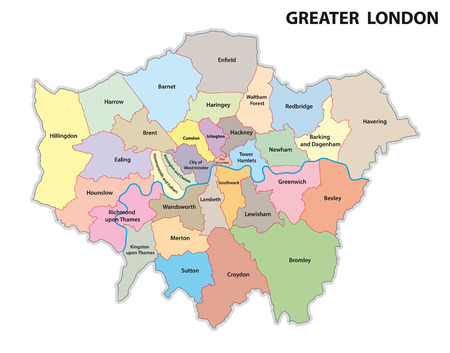 tower of london: greater london administrative map Illustration