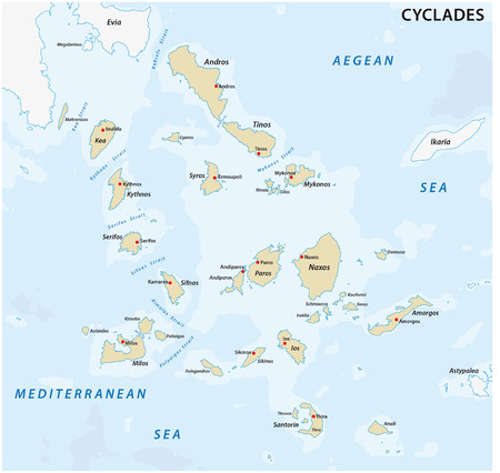map of the greek cyclades Iceland group Stock Illustratie