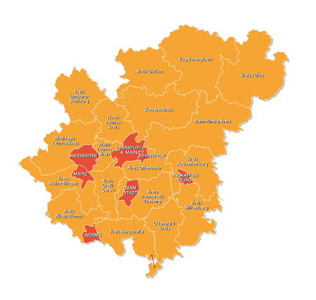 frankfurt: simple outline map of the Frankfurt Rhine-Main Metropolitan Region