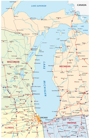 lake michigan map Фото со стока - 54115744