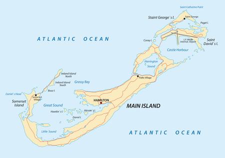 bermuda: Bermuda road map Illustration