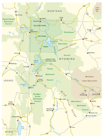 an ecosystem: Greater Yellowstone Ecosystem map Illustration